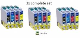 3x Set Epson T1811 tot T1814 XL serie huismerk met chip