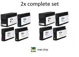 Geschikt HP 932 XL & 933 XL set 4 met chip 2x Set van inktpatronenexpress