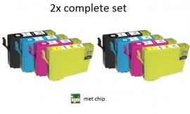 2x Set Epson T1291 tot T1294 huismerk met chip