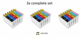 3x Set Epson T0801 tot T0806 huismerk met chip
