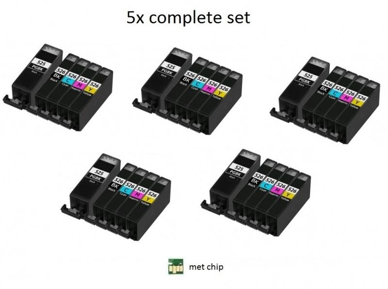 Geschikt Canon Pgi-525 en Cli-526 serie met chip5x Set van inktpatronenexpress