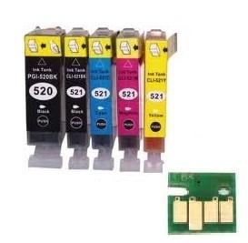 Set Canon Pgi-520 en Cli-521 serie met chip huismerk