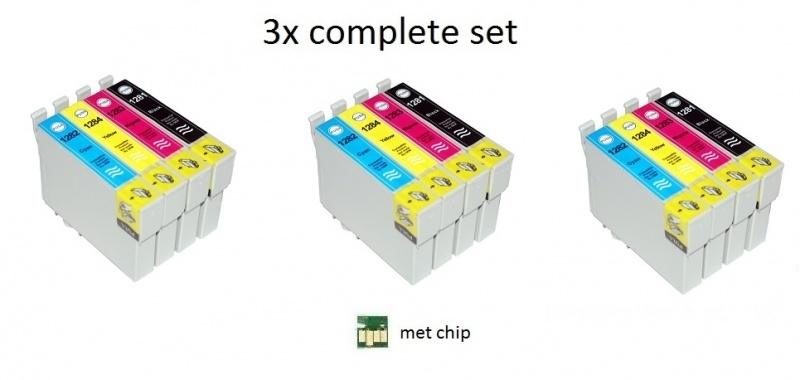 3x Set Epson T1281 tot T1284 huismerk met chip