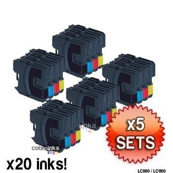 Geschikt Brother lc-1220, 1240, 1280 serie 5x Set van inktpatronenexpress
