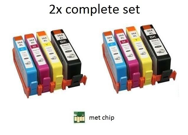 2x set Hp 364xl met chip huismerk