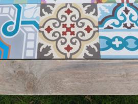 Tafel Steigerdelen (vuren) met Portugese tegels 200x100cm