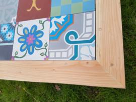 WINTER AANBIEDING !! Tafel Douglas met Portugese tegels 180x80cm