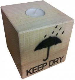 Waxine kaars houder This Way Up / Keep Dry