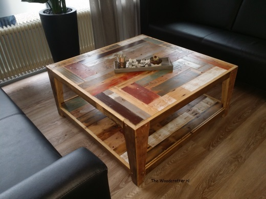 salontafel gerecycled hout