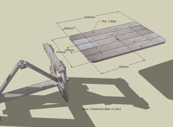Detail bouwtekening tuintafel steigerdelen