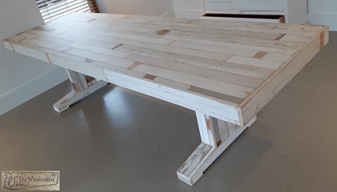 Sloophouten tafel wit