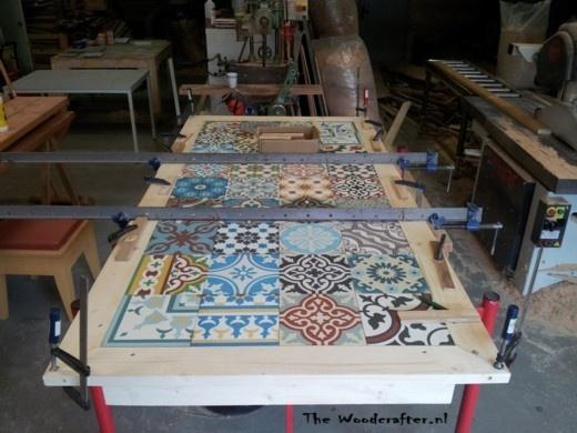 tafelblad met Marokkaanse tegels Patchwork