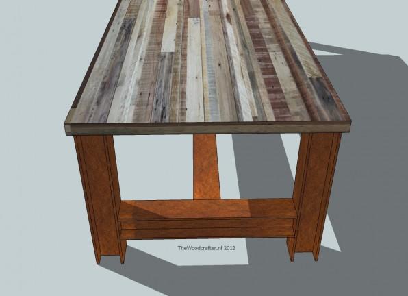 sloophout tafel met stalen onderstel