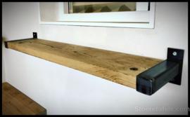 Wandplank 3.8 cm dik met stalen beugel