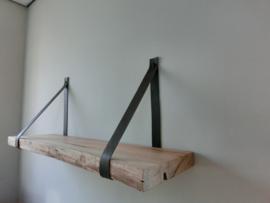 Wandplank 3 cm dik met leder
