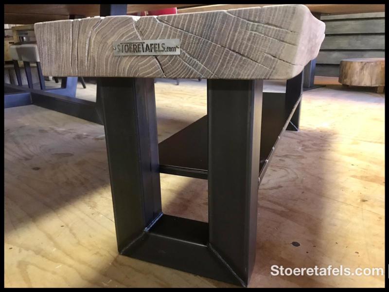 Stoere Tafels Com.Tv Meubel Met Stalen Onderplaat Kasten En Wandplanken