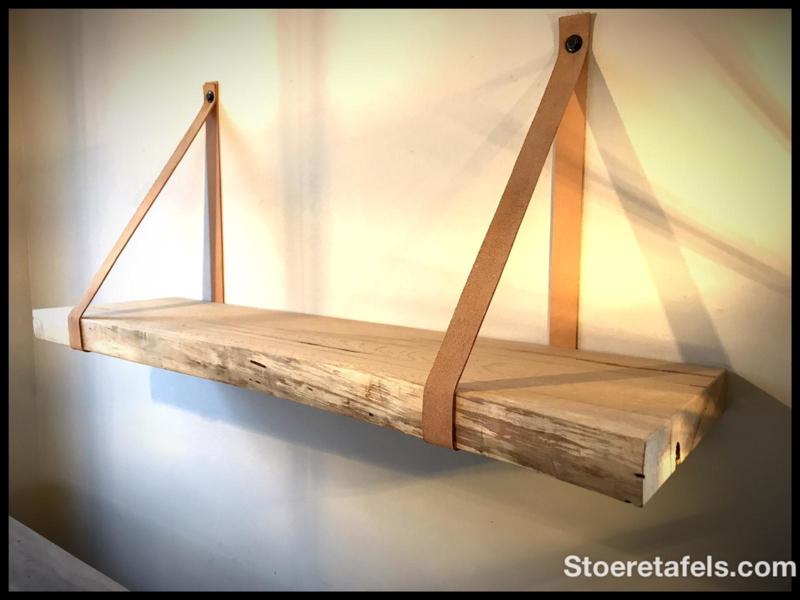 Wandplank 6 cm dik met leder