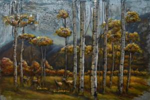 Schilderij bos met herten