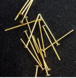 Nietstift / speld goud verguld 30 * 0,8 mm  ( 100 stuks )