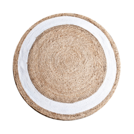 CARPET JUTE ROUND NATUREL/WHITE