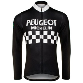 Retro wielershirt Peugeot Michelin zwart