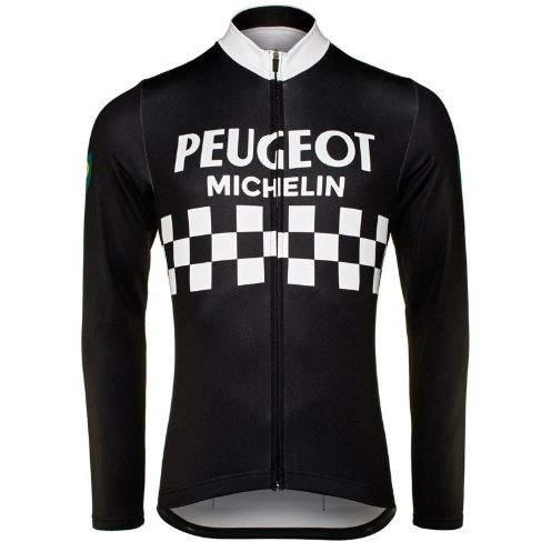 Retro wielershirt Peugeot Michelin zwart