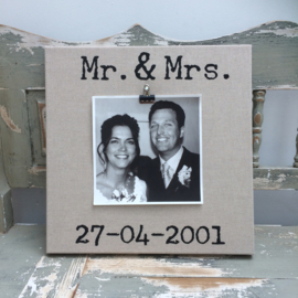 canvas bruiloft Mr. & Mrs foto