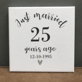 Canvasdoek 'Just married'