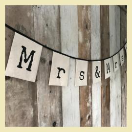 vlaggenslinger Mr&Mrs 3m