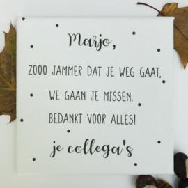 canvasdoek afscheid collega 'Marjo'