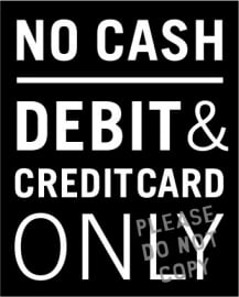 1. debit & credit card only raamsticker