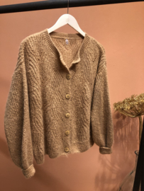 Ajour cardigan - tan