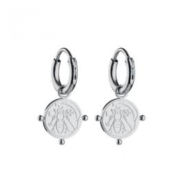 "Earrings ""Silver bee coin"""