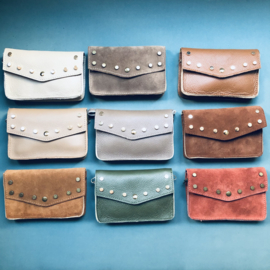 Clutch bags studs - suede/ leather