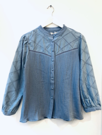 """""""Vicky broderie blouse"""" blue"""
