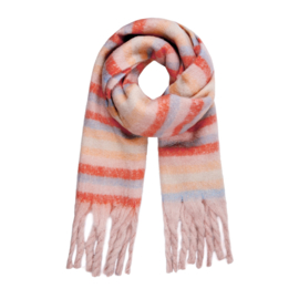 Striped scarf - coral