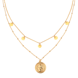 Double coins layered necklace
