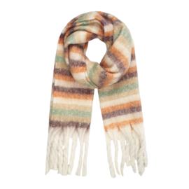 Striped scarf- green