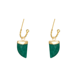"""Greenish tooth earrings"""
