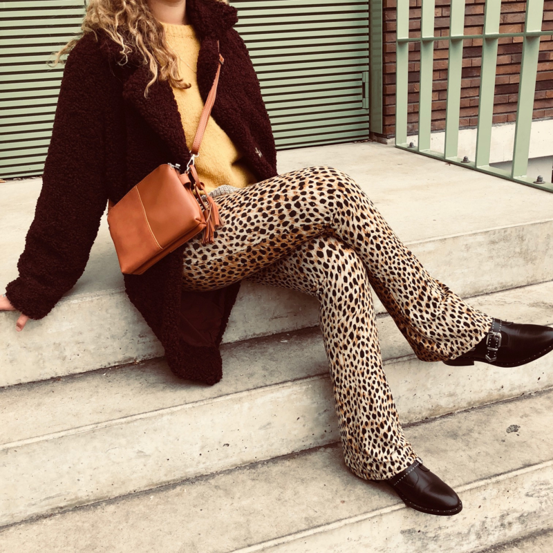 Burgundy teddy coat, leopard flare, ochre sweater & cognac bag
