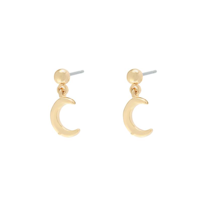 Half moon earstuds/ white stones