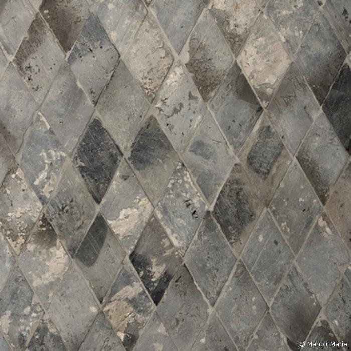 Oude terracotta diamant grijs-blauw