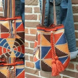 Mochila BLOK bruin/roest/oranje/blauw haakpakket