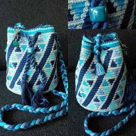MINI Mochila Aqua-linnen patroon