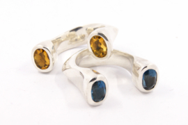 Hans van der Leen - Ring zilver met dubbele citrien - 10919.HLR165