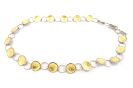 Lesley Zijlstra - Geschakeld collier zilver met bladgoud - 10370