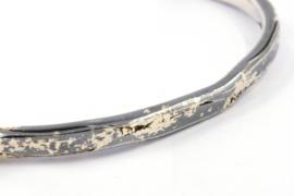 Hans van der Leen - Armband zwart zilver met vlokken goud - 10691HLA010a
