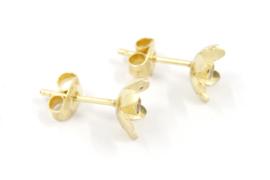 Erwin Borggreve - Oorknopjes goud met citrien bloemetje - 11253