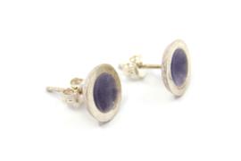 Anna - Oorknopjes zilver met paars emaille - 11138