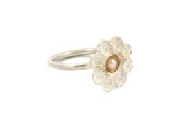 Hester Zagt - Zilveren ring met bloem - 11197